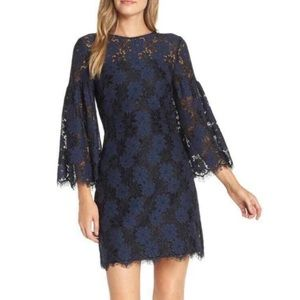 Trina Turk Blue Navy Lace Sheath Dress Size 8